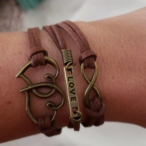 Brown suede bracelet with charms